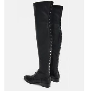 Zara Black Studded Flat Over the knee Stretch Boot